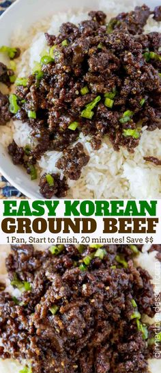 and Spicy Korean Ground Beef with all the flavors of your favorite Korean BBQ but for a third of the cost and kid friendly!Sweet and Spicy Korean Ground Beef with all the flavors of your favorite Korean BBQ but for a third of the cost and kid friendly! Ground Beef Recipes For Dinner, Dinner With Ground Beef, Ground Beef Recipes Asian, Ground Beef Recepies, Ground Beef Meals, Ground Beef And Broccoli, Ground Beef Rice, Ground Meat, Ground Beef Recipe Kids