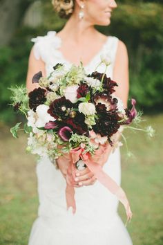 Purple, green, and white bridal bouquet/ fig & gold wedding colors Dark Purple Wedding, Gold Wedding, Wedding Bells, Floral Wedding, Wedding Colors, Wedding Bouquets, Wedding Flowers, Dream Wedding, Wedding Day