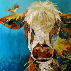 Bubba And Billy II Painting by Kathy Fitzgerald Paper Collage Art, Collage Art Mixed Media, Paper Art, Animal Paintings, Animal Drawings, Art Drawings, Fine Art Amerika, Cow Painting, Animal Quilts