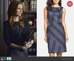 Abby's diagonal patterned dress on Scandal.  Outfit Details: http://wornontv.net/39943/ #Scandal