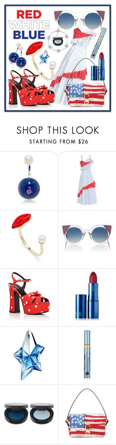 """""""Red, White & Blue: Celebrate the 4th with Polka Dots!"""" by haikuandkysses ❤ liked on Polyvore featuring Delfina Delettrez, Anna October, Fendi, Yves Saint Laurent, Lipstick Queen, Thierry Mugler, Estée Lauder and Marc Jacobs"""