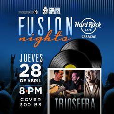 """Hard Rock Cafe Caracas presenta: """"Fusion Nights con Triosfera"""" http://crestametalica.com/events/hard-rock-cafe-caracas-presenta-fusion-nights-con-triosfera/ vía @crestametalica"""