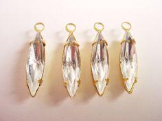 Vintage Crystal Navette Rhinestones 15x4 in by brassgoldbeads