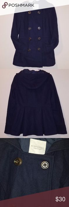 Navy Blue Pea coat Very cute navy blue pea coat with hood. Only worn a few times! all buttons attached and none are loose. Aeropostale Jackets & Coats Pea Coats