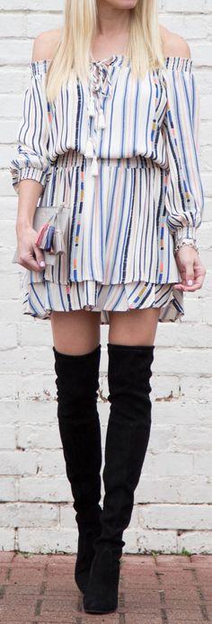 Striped Off Shoulder Dress / Black OTK Boots
