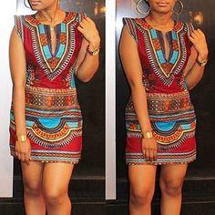 Sexy Round Neck Sleeveless Tribal Print Slimming Women's Dress