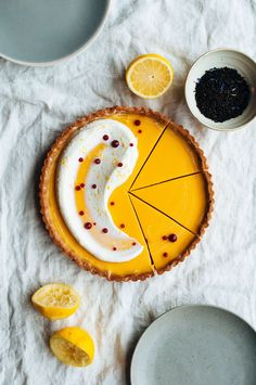 Lemon & Earl Grey Tart with Buttermilk Chantilly and Raspberry Fluid Gel