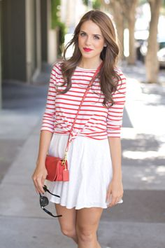 red & white with cross body bag