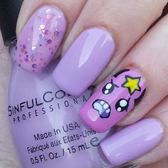 Instagram media by katiescreativenails - 'lumpy space princess' from the cartoon 'Adventure time' #nail #nails #nailart