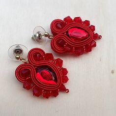 veronikas_jewellery / Red soutache earrings