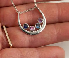 Mother's Pendant, up to 6 Birthstone necklace, Sterling Silver Birthstone Custom made -Hand forged- Pendant