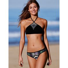 Victoria's Secret High Neck Halter Top ($35) ❤ liked on Polyvore featuring swimwear, bikinis, bikini tops, green and victoria's secret