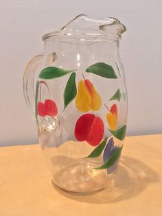 Vintage Juice Pitcher and Four Juice Glasses- Hand Painted Designs on Clear Glass