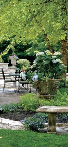 Different lèvels, stone & freestyle planting can look 'posh' & inviting at the same time. One doesn't need rows of box or topiary to achieve the more 'upmarket' look. In fact, unimaginative rows of box fall into the same category as private number plates, in my book .