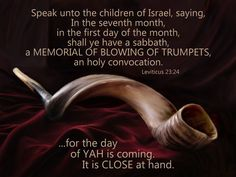 """And YaH spake unto Moses, saying,  Speak unto the children of Israel, saying, In the seventh month, in the first day of the month, shall ye have a sabbath, a memorial of blowing of trumpets, an holy convocation."" Lev 23:23-24"