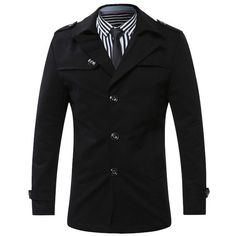 Turn Down Collar Single Breasted Epaulet Coat (1,545 MKD) ❤ liked on Polyvore featuring men's fashion, men's clothing, men's outerwear, men's coats, mens single breasted pea coat and mens fur collar coat