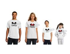 Minnie Mickey family shirts: mom, dad, brother, sister