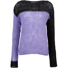 Marc by Marc Jacobs Purple Two-Tone Open Knit Jumper ($255) ❤ liked on Polyvore featuring tops, sweaters, jumpers, shirts, purple top, purple sweater, yoke shirt, open knit sweater and jumper shirt