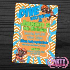 9ef2ecd5561 PRINTABLE INVITATION ~ Paw Patrol ~ ZUMA Water Pool Party ~ Birthday Party  Invitation ~ 5x7 ~ Digital File