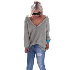 Elegant Knitted Christmas Oversized Sweater Autumn Winter Pullover Women  Tops Slim V Neck Black Jumper Casual Pull Femme c224efd700c1