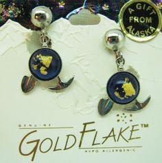ALASKA EARRINGS GOLD FEVER GOLD & PLATED SETTINGS -MAKE AN OFFER!