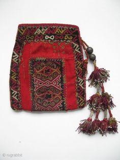 "Uzbekistan upper Amu Derya Karakalpak bag. Silk embroidery on wool fabric with origional tassels. Some wears at the bottom and on red wool field. Size: 6"" x 7.5"" (17cm x 19cm)"