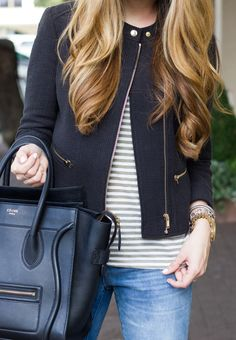 Cotton Moto Jacket - a nice structured jacket that is a bit of a step up from my jean jacket. Fall Outfits, Cute Outfits, Moto Jacket, Teacher Diva, Style Me, Autumn Fashion, Style Inspiration, Black Jackets, Work Jackets