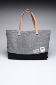 Grey wool and black tote