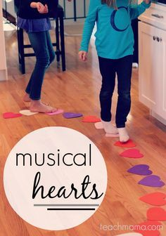 movement activity to develop large motor skills  while listening to music, the child will walk around the hearts until the music stops.