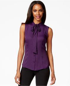 Anne Klein Sleeveless Tie-Neck Blouse - Wear to Work - Women - Macy's