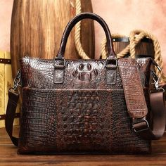Free shpping Leather Office Bags, Mens Leather Laptop Bag, Office Bags For Men, Leather Briefcase, Men Office, Laptop Tote, Laptop Briefcase, Briefcase For Men, Crocodile
