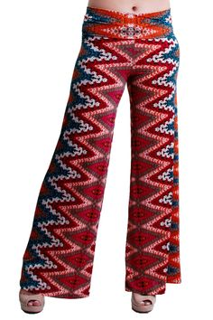Color- Knit Red  #knit #printed #palazzopants
