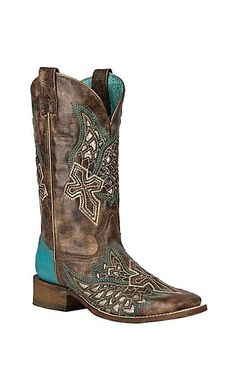 Corral Women's Brown with Turquoise w/ Wings and Cross Inlay Western Square Toe Boots Cowboy Boots Women, Cowgirl Boots, Western Boots, Western Chic, Western Wear, Cute Shoes, Me Too Shoes, Country Boots, Country Outfits