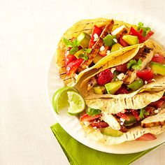 Sweet strawberries and creamy avocado make a luscious yet light topping for these chicken tacos. Get the recipe for Grilled Chicken Tacos with Strawberry Salsa Grilled Chicken Tacos, Grilled Chicken Recipes, Lunch Box Recipes, Dinner Recipes, Dinner Ideas, Lunch Ideas, Strawberry Salsa, Strawberry Recipes, Mexican Food Recipes