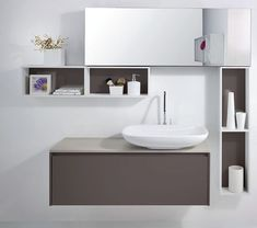 Phenomenal 8 Minimalist Bathroom Sink Design Ideas For Your Bathroom Decoration Home interior design must be arranged carefully to make it look harmonious and more beautiful. One of the interior elements that deserve attention is . Small Bathroom Interior, Bathroom Sink Design, Modern White Bathroom, White Bathroom Cabinets, Small Bathroom Vanities, White Vanity Bathroom, Bathroom Furniture, Bathroom Wall, Wooden Bathroom