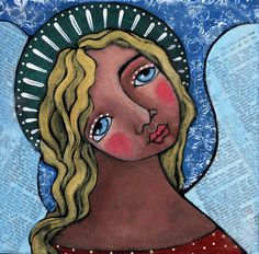 Angel with Green Halo Painting  - Angel with Green Halo Fine Art Print