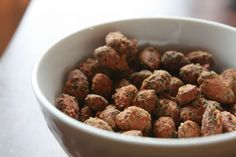 Parmesan Almonds ---> I'll be tempted to do this with roasted chickpeas ...