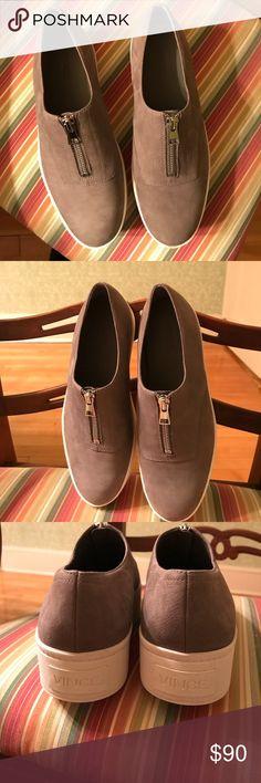Vince Camuto Zip Suede Platform Sneakers Vince Camuto Limestone Size: 7 1/2 Zip Suede Platform Sneakers. Never worn. Vince Camuto Shoes Sneakers