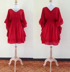Cortos vestidos de rojo Kimono vestido/V cuello/verano / verano maxi vestido largos vestido Plus tamaño XS - 9XXL