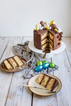 This recipe for an indulgent, moist vanilla layer cake covered in chocolate orange frosting is definitely a treat! Topped with chocolate eggs and macarons, this cake is a real show stopper! Cupcake Recipes, Cupcake Cakes, Dessert Recipes, Cupcakes, Beignets, Biscuits, Chocolate Orange, Chocolate Cream, Chocolate Covered