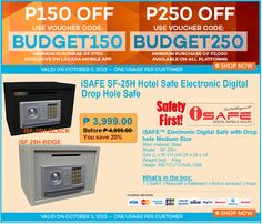 OFFICE FURNITURE SALE @LAZADA'S GADGET BUDGET CRAZE PROMO! Save P150 up to P150 OFF DISCOUNT on iSAFE iSF-25H Electronic Digital Safe Vault! Use Voucher Code:BUDGET150 | Excvlusive on Lazada Mobile App Use Voucher Code:BUDGET250 | Available on All Platforms Promo is Valid on October 5, 2015 Only!! CLICK http://www.lazada.com.ph/cost-u-less-total-furniture---interior-solutions