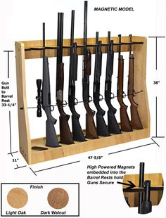 Quality rotary gun racks used to store rifles, rifles with scopes and shot guns on a rotating gun rack for easy access. Quality pistol racks include single level pistol racks and double level pistol racks for the sportsman, gun collector and dealer Rifles, Weapon Storage, Gun Storage, Wood Projects, Woodworking Projects, Woodworking Plans, Woodworking Joints, Woodworking Machinery, Popular Woodworking