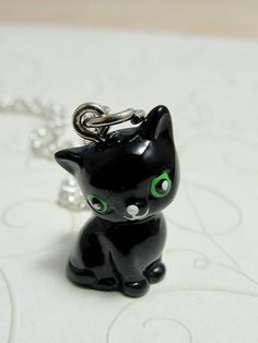 Black Kitty Polymer Clay Charm!! ARE YOU KIDDING ME!? Someone made this out of clay!?