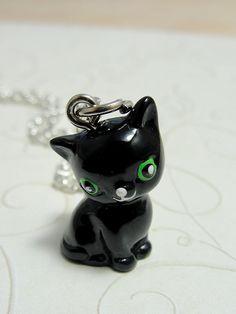 Black Kitty Polymer Clay Charm