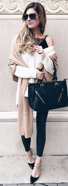 fashionable outfit / white one shoulder sweater + black lace top + nude scarf + bag + skinnies + shoes