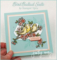 Stampin' Up! Bird Ballad Suite - Judy May, Just Judy Designs, Melbourne Cards For Friends, Friend Cards, Prim Christmas, Handmade Christmas, Christmas Cards, Pink Cards, Stampin Up Catalog, Friendship Cards, Card Maker