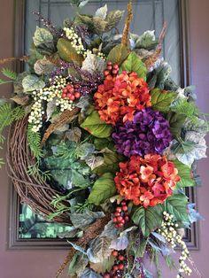 Autumn Wreath, Fall Wreath, Front Door Wreath, Grapevine Wreath, Hydrangea…