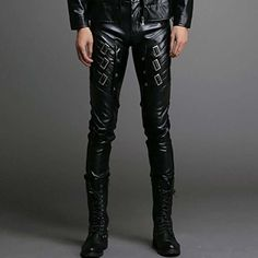 Mens Faux Leather Pants Long Skinny Sports Leather Trousers