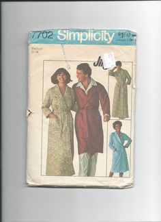 Simplicity 7702 Missies Jiffy Robe in Two by VintageSewingShoppe