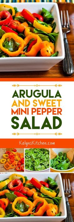 I love the ingredients in this Arugula and Sweet Mini Pepper Salad and this healthy and delicious salad is low-carb, Keto, low-glycemic, gluten-free, dairy-free, vegan, Paleo, Whole 30, and South Beach Diet approved! [found on KalynsKitchen.com.]